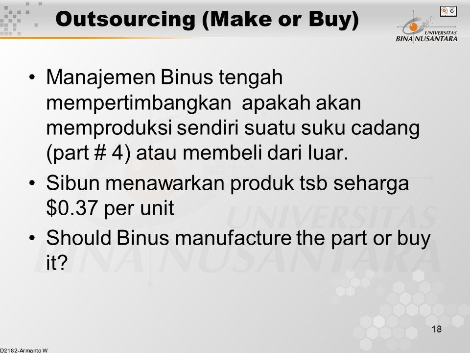 D2182-Armanto W 18 Outsourcing (Make or Buy) Manajemen Binus tengah mempertimbangkan apakah akan memproduksi sendiri suatu suku cadang (part # 4) atau membeli dari luar.