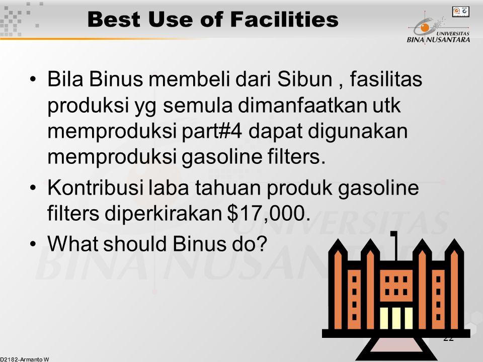 D2182-Armanto W 22 Best Use of Facilities Bila Binus membeli dari Sibun, fasilitas produksi yg semula dimanfaatkan utk memproduksi part#4 dapat digunakan memproduksi gasoline filters.