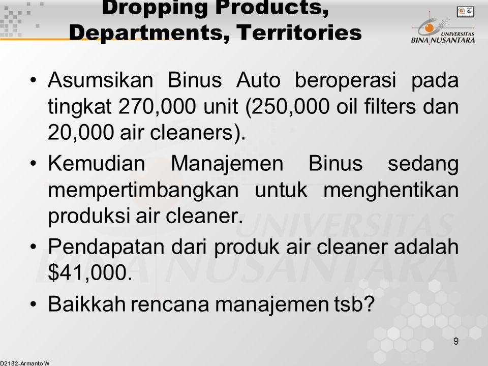 D2182-Armanto W 20 Outsourcing (Make or Buy) Dengan asumsi bahwa dengan membeli Binus dapat menghindari seluruh biaya produksi variabel serta mengurangi biaya tetap sebesar $15,000 (Biaya tetap berkurang menjadi $35,000).