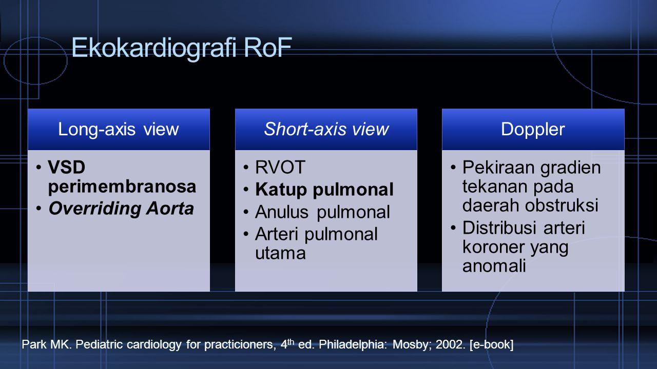 Ekokardiografi RoF Long-axis view VSD perimembranosa Overriding Aorta Short-axis view RVOT Katup pulmonal Anulus pulmonal Arteri pulmonal utama Dopple