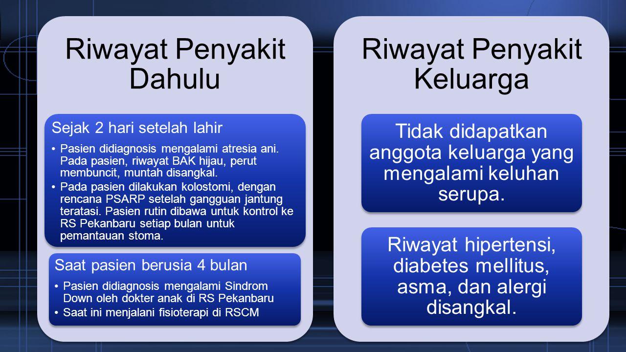 Riwayat Tumbuh Kembang Pasien mulai membalikkan badan (tengkurap, telentang) saat usia 6 bulan.
