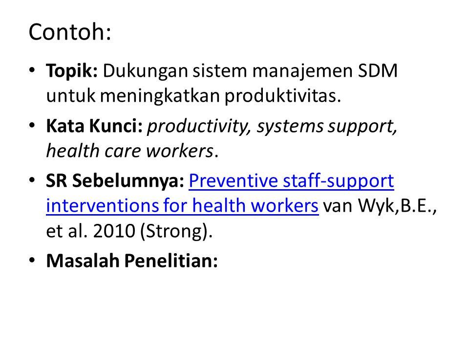 Contoh: Topik: Dukungan sistem manajemen SDM untuk meningkatkan produktivitas. Kata Kunci: productivity, systems support, health care workers. SR Sebe
