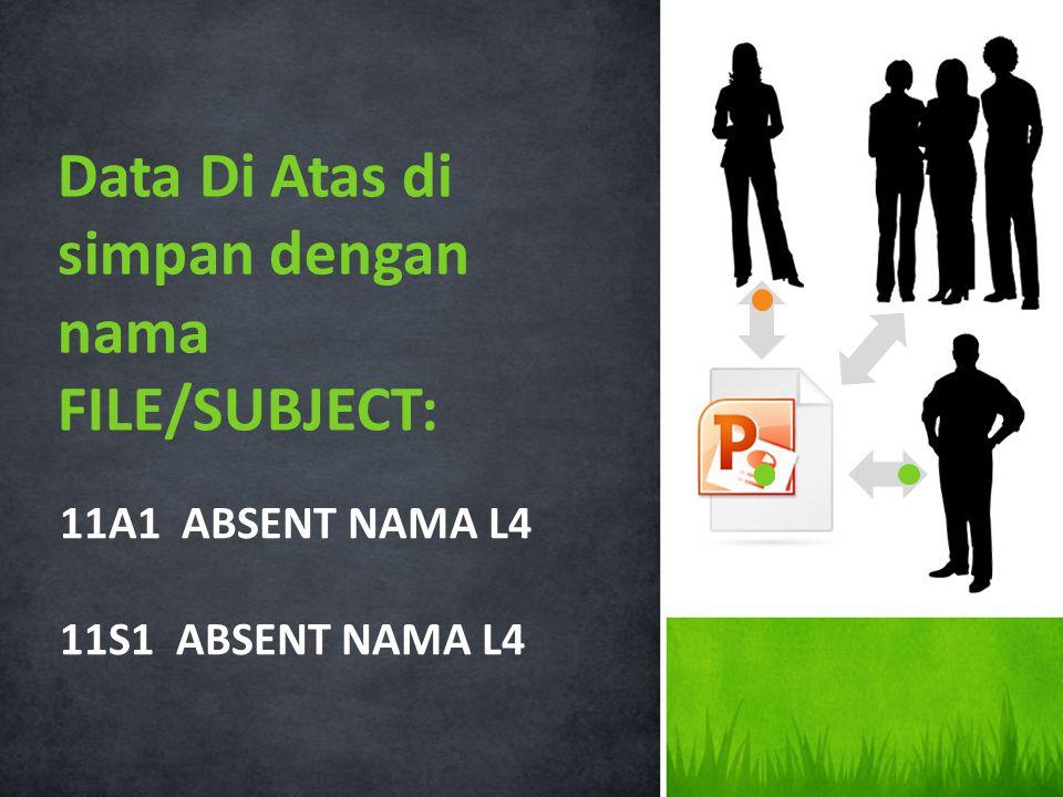 11A1 ABSENT NAMA L4 11S1 ABSENT NAMA L4 Data Di Atas di simpan dengan nama FILE/SUBJECT: