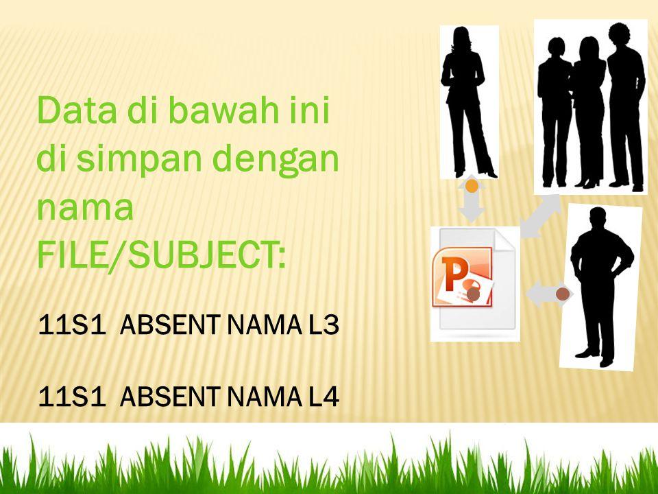 11S1 ABSENT NAMA L3 11S1 ABSENT NAMA L4 Data di bawah ini di simpan dengan nama FILE/SUBJECT: