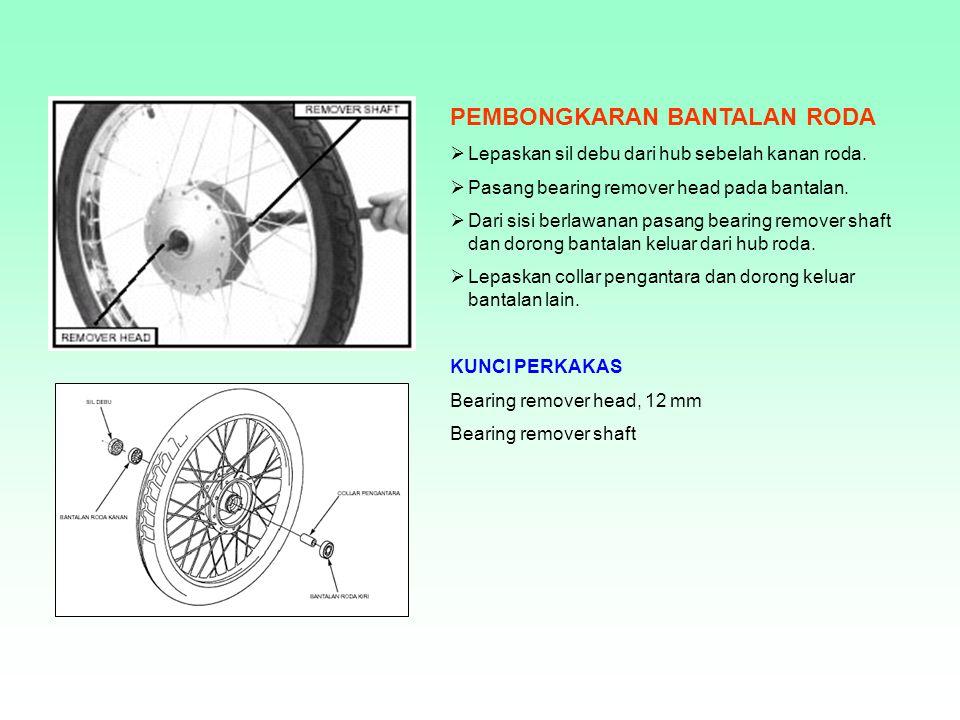 BANTALAN RODA Berfungsi : Sebagai bantalan antara hub/tromol dengan poros, sehingga roda dpt berputar dengan lancar.