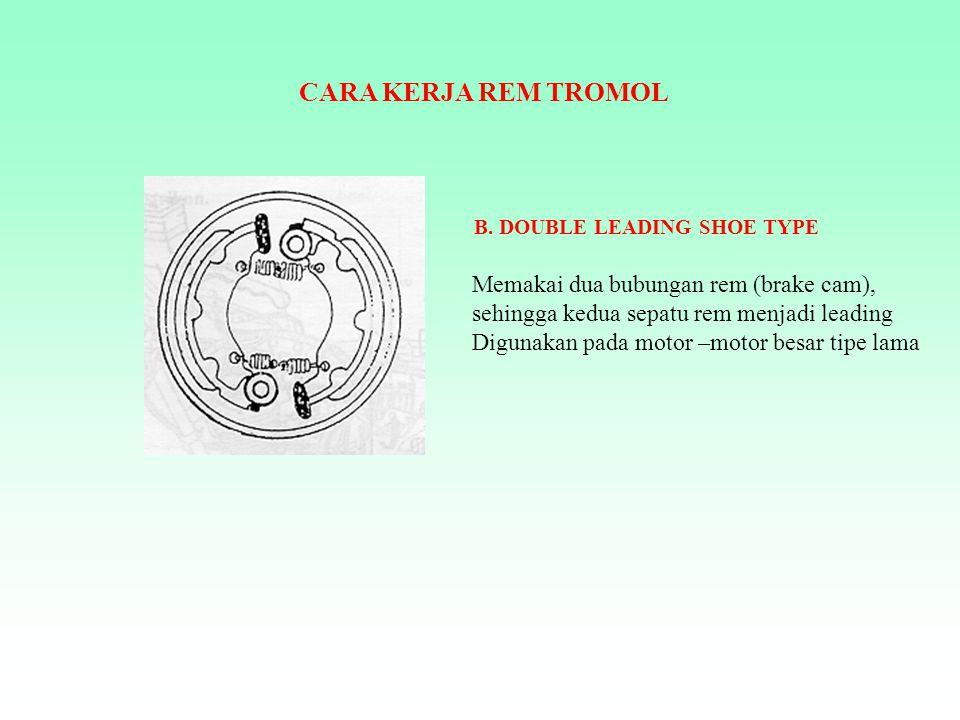 CARA KERJA REM TROMOL Pedal atau handle rem  kabel atau batang rem  bubungan rem (brake cam)  sepatu rem  tromol rem.