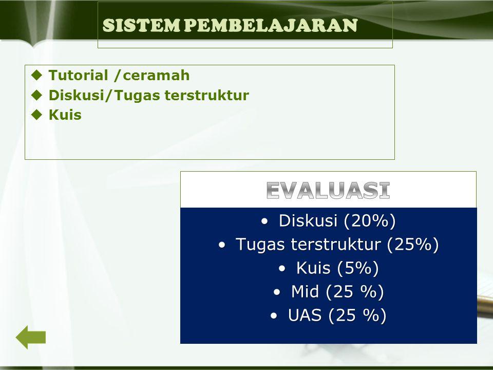 SISTEM PEMBELAJARAN  Tutorial /ceramah  Diskusi/Tugas terstruktur  Kuis Diskusi (20%)Diskusi (20%) Tugas terstruktur (25%)Tugas terstruktur (25%) Kuis (5%)Kuis (5%) Mid (25 %)Mid (25 %) UAS (25 %)UAS (25 %)