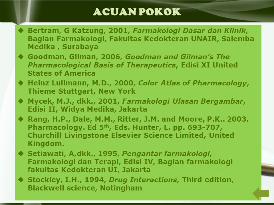 FARMAKODINAMIK Ilmu yang mempelajari pengaruh obat terhadap organisme hidup terutama cara dan mekanisme kerjanya, reaksi fisiologi, serta efek terapi yang ditimbulkan.