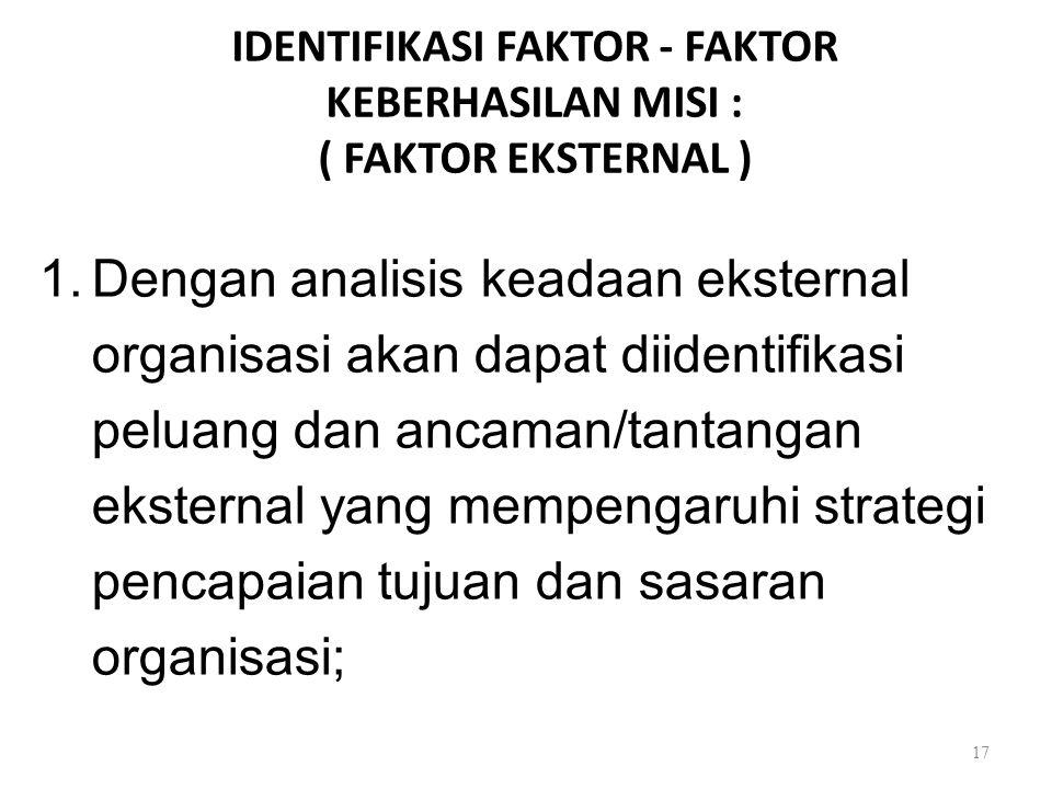 IDENTIFIKASI FAKTOR - FAKTOR KEBERHASILAN MISI : ( FAKTOR EKSTERNAL ) 1.Dengan analisis keadaan eksternal organisasi akan dapat diidentifikasi peluang