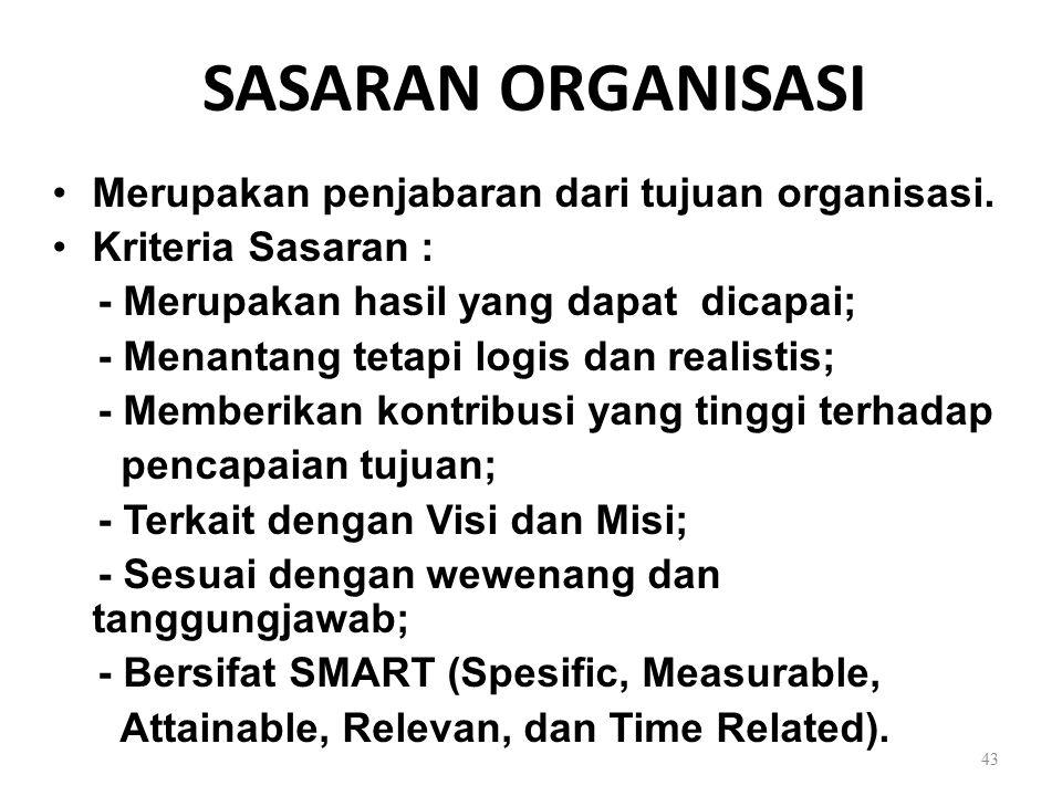 SASARAN ORGANISASI Merupakan penjabaran dari tujuan organisasi. Kriteria Sasaran : - Merupakan hasil yang dapat dicapai; - Menantang tetapi logis dan