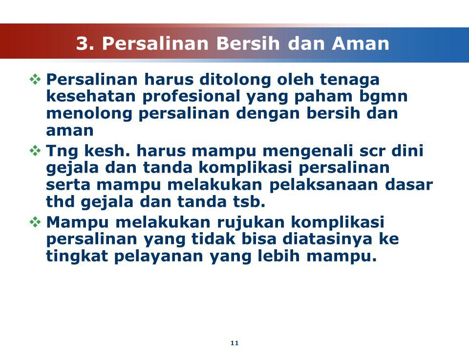 11 3. Persalinan Bersih dan Aman  Persalinan harus ditolong oleh tenaga kesehatan profesional yang paham bgmn menolong persalinan dengan bersih dan a