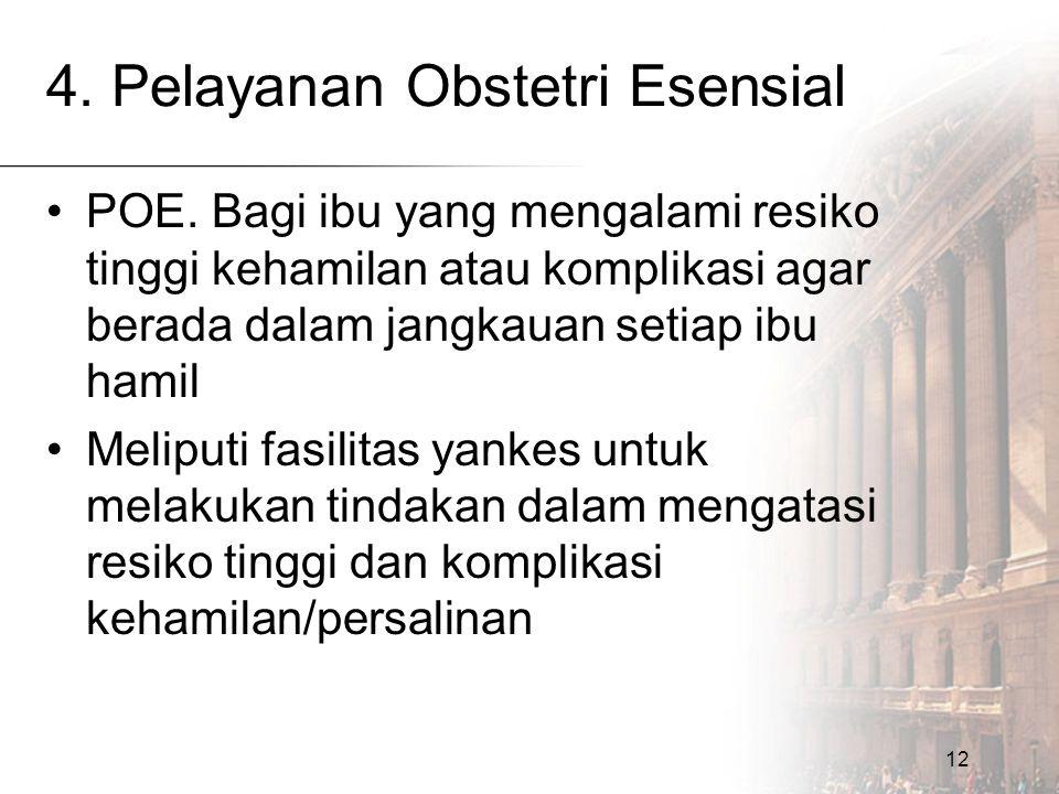 12 4. Pelayanan Obstetri Esensial POE. Bagi ibu yang mengalami resiko tinggi kehamilan atau komplikasi agar berada dalam jangkauan setiap ibu hamil Me