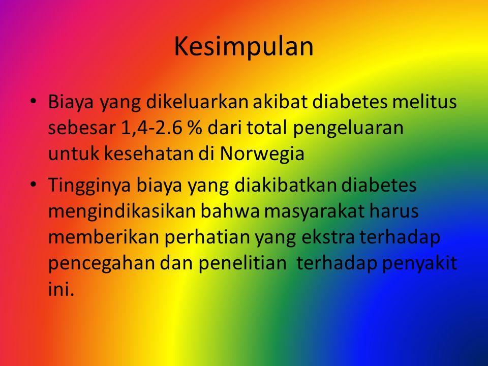 Kesimpulan Biaya yang dikeluarkan akibat diabetes melitus sebesar 1,4-2.6 % dari total pengeluaran untuk kesehatan di Norwegia Tingginya biaya yang diakibatkan diabetes mengindikasikan bahwa masyarakat harus memberikan perhatian yang ekstra terhadap pencegahan dan penelitian terhadap penyakit ini.