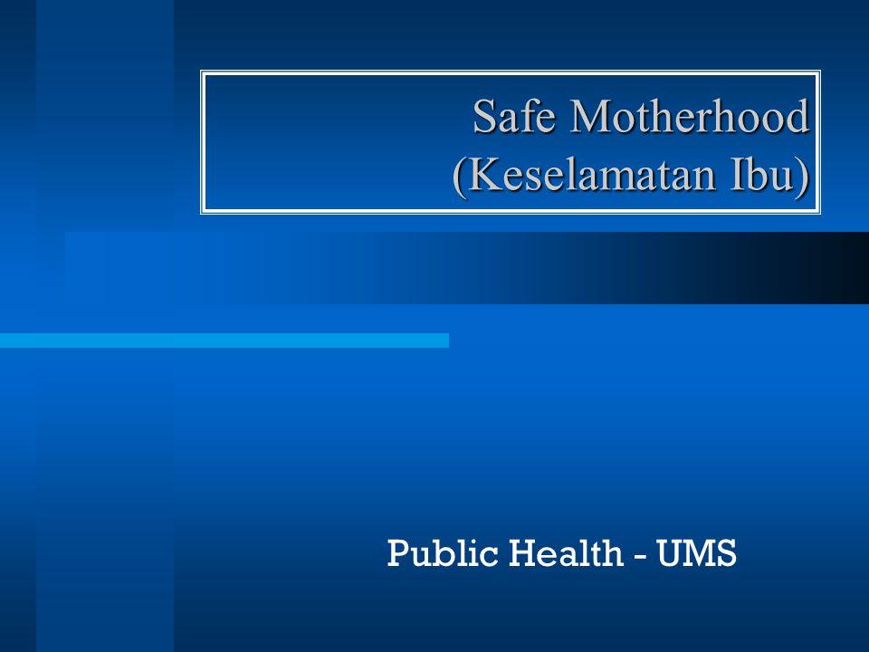 pengertian Safe Motherhood adalah usaha- usaha yang dilakukan agar seluruh perempuan menerima perawatan yang mereka butuhkan selama hamil dan bersalin