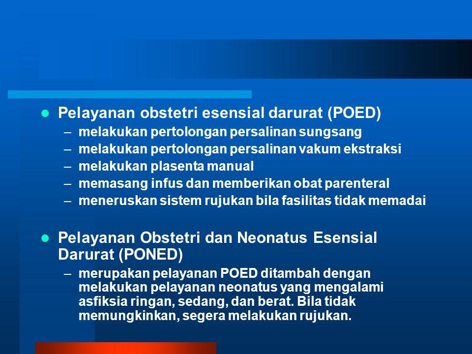 Pelayanan obstetri esensial darurat (POED) –melakukan pertolongan persalinan sungsang –melakukan pertolongan persalinan vakum ekstraksi –melakukan pla