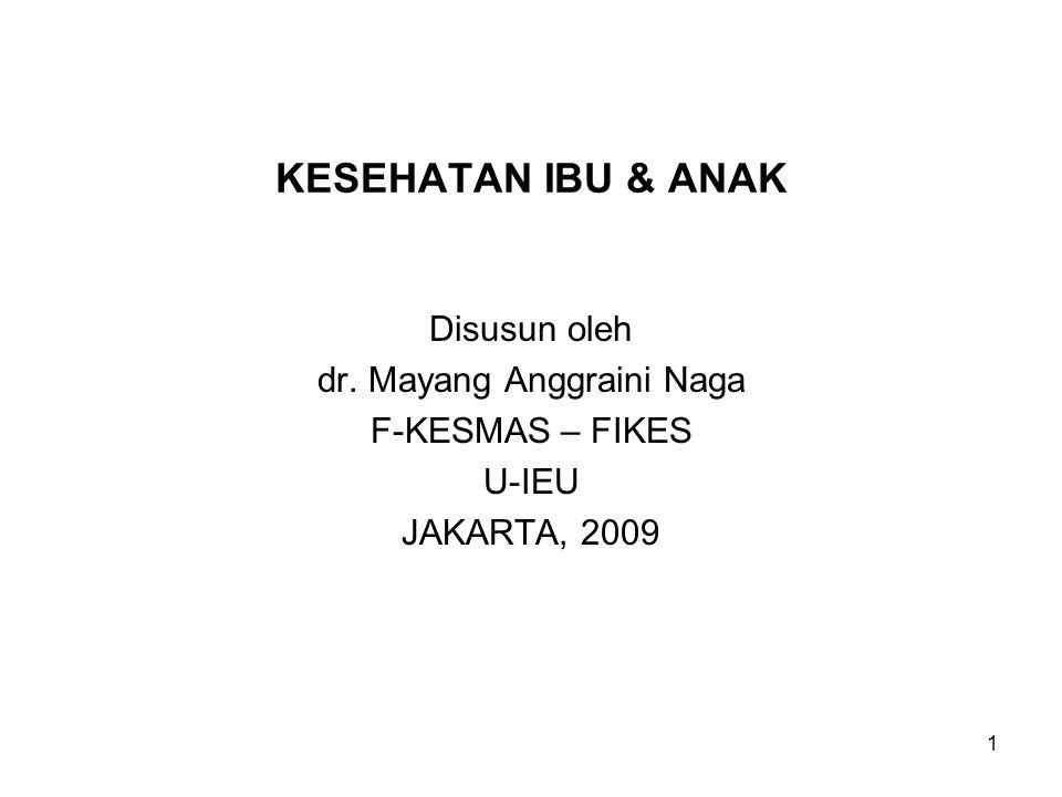 KESEHATAN IBU & ANAK Disusun oleh dr. Mayang Anggraini Naga F-KESMAS – FIKES U-IEU JAKARTA, 2009 1