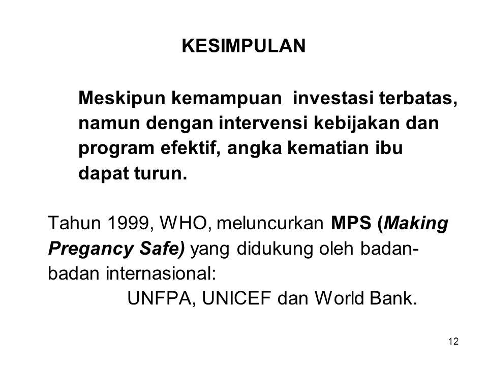 12 KESIMPULAN Meskipun kemampuan investasi terbatas, namun dengan intervensi kebijakan dan program efektif, angka kematian ibu dapat turun. Tahun 1999