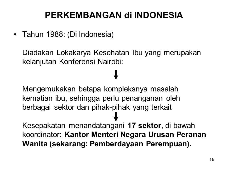 15 PERKEMBANGAN di INDONESIA Tahun 1988: (Di Indonesia) Diadakan Lokakarya Kesehatan Ibu yang merupakan kelanjutan Konferensi Nairobi: Mengemukakan be