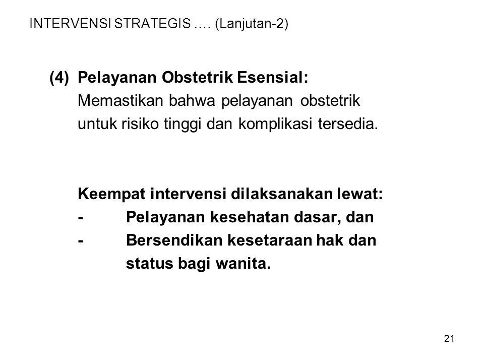 21 INTERVENSI STRATEGIS …. (Lanjutan-2) (4)Pelayanan Obstetrik Esensial: Memastikan bahwa pelayanan obstetrik untuk risiko tinggi dan komplikasi terse