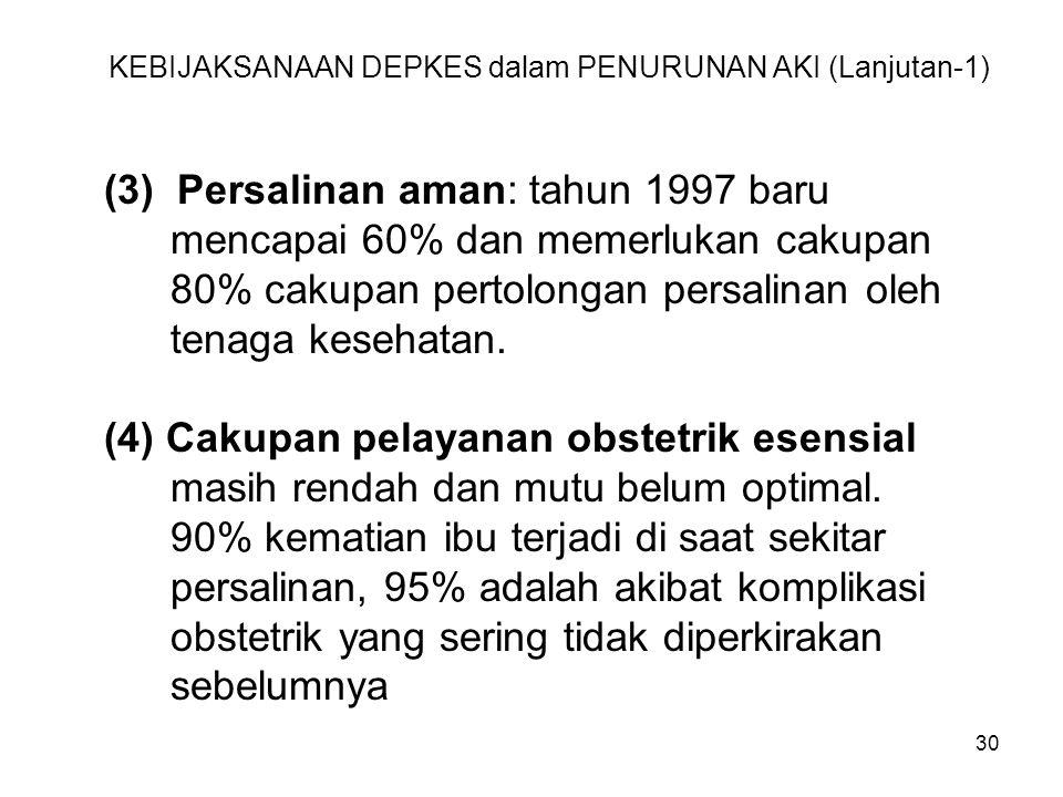 30 KEBIJAKSANAAN DEPKES dalam PENURUNAN AKI (Lanjutan-1) (3) Persalinan aman: tahun 1997 baru mencapai 60% dan memerlukan cakupan 80% cakupan pertolon