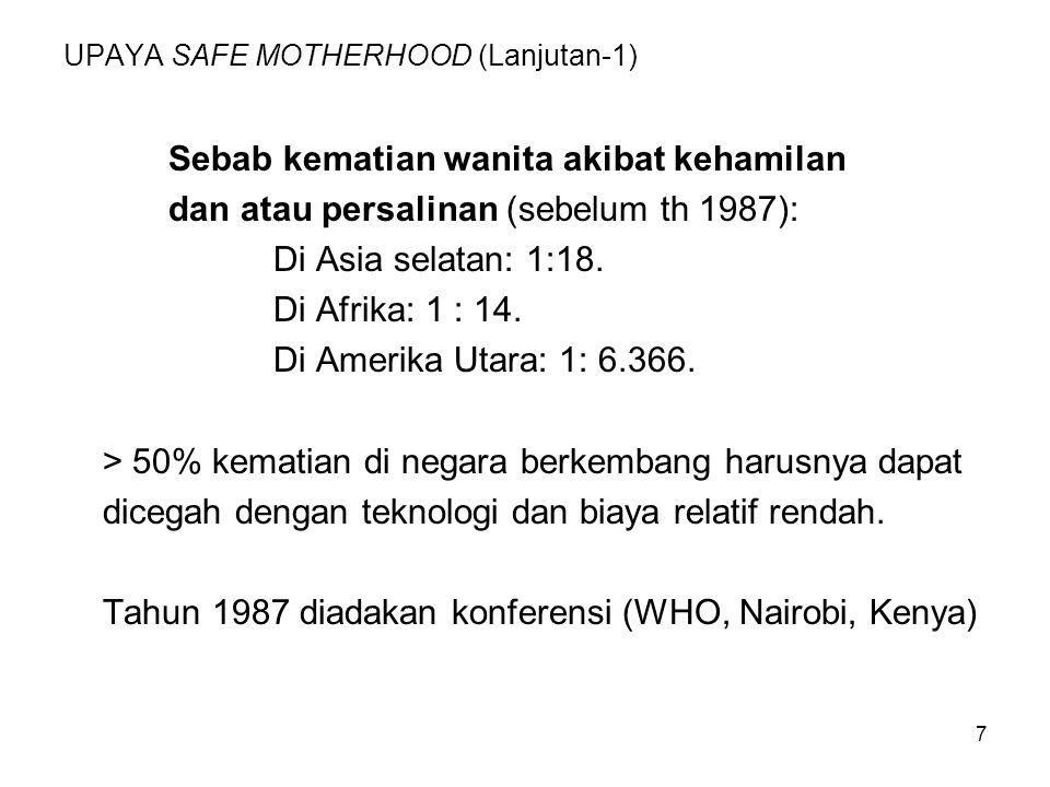 7 UPAYA SAFE MOTHERHOOD (Lanjutan-1) Sebab kematian wanita akibat kehamilan dan atau persalinan (sebelum th 1987): Di Asia selatan: 1:18. Di Afrika: 1