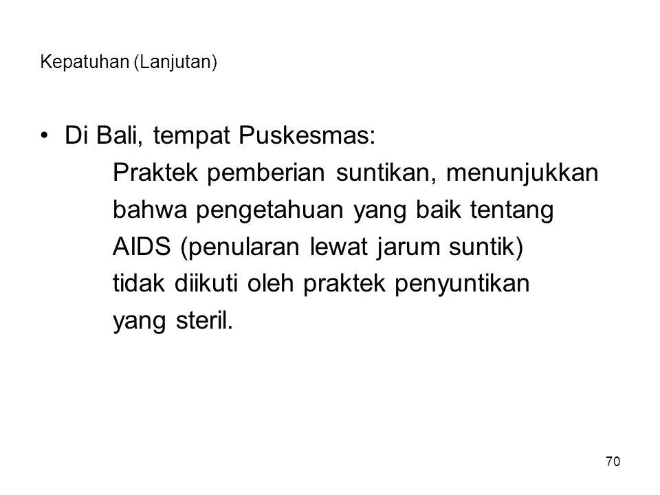 70 Kepatuhan (Lanjutan) Di Bali, tempat Puskesmas: Praktek pemberian suntikan, menunjukkan bahwa pengetahuan yang baik tentang AIDS (penularan lewat j