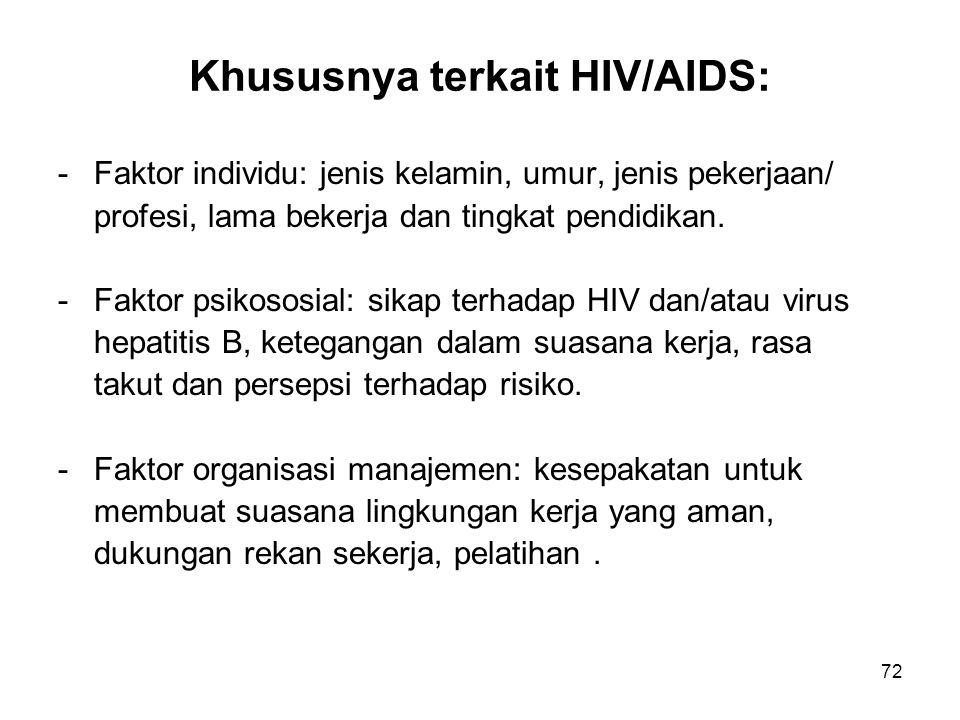 72 Khususnya terkait HIV/AIDS: -Faktor individu: jenis kelamin, umur, jenis pekerjaan/ profesi, lama bekerja dan tingkat pendidikan. -Faktor psikososi