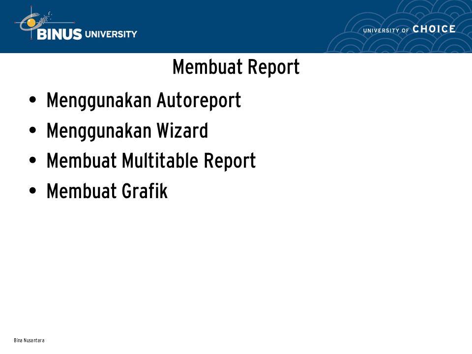 Bina Nusantara Membuat Report Menggunakan Autoreport Menggunakan Wizard Membuat Multitable Report Membuat Grafik