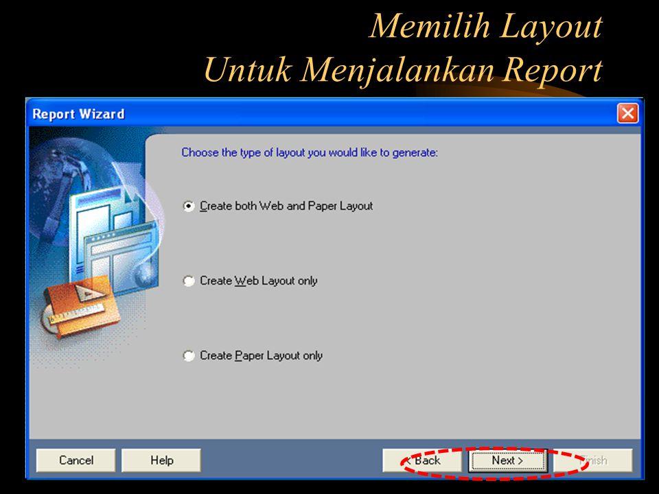 Memilih Template untuk Report