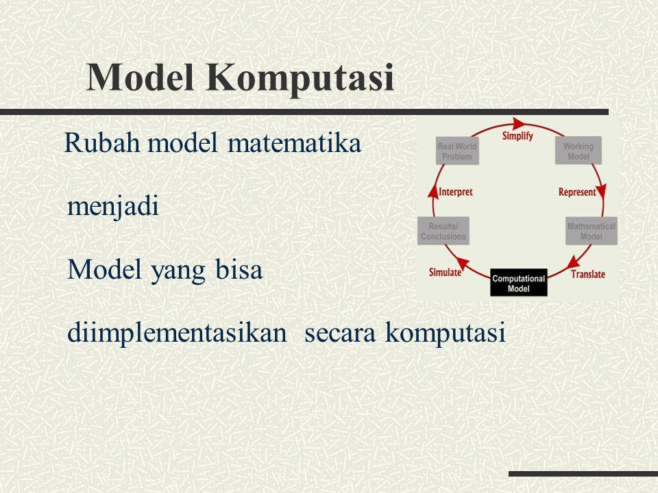 Model Komputasi Rubah model matematika menjadi Model yang bisa diimplementasikan secara komputasi
