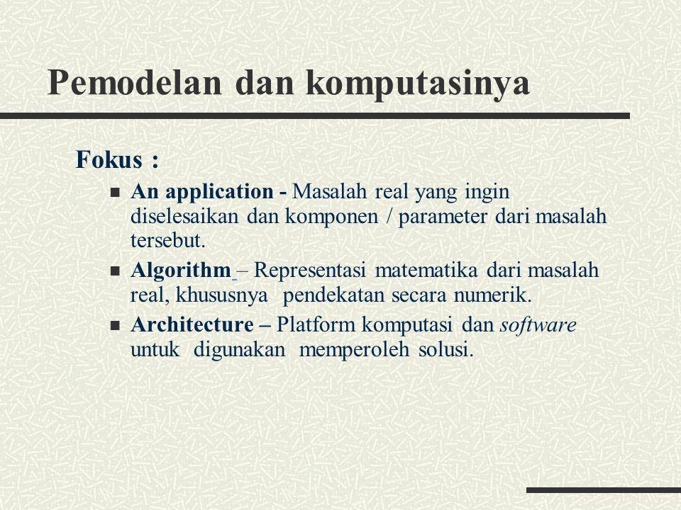Pemodelan dan komputasinya Fokus : An application - Masalah real yang ingin diselesaikan dan komponen / parameter dari masalah tersebut. Algorithm – R