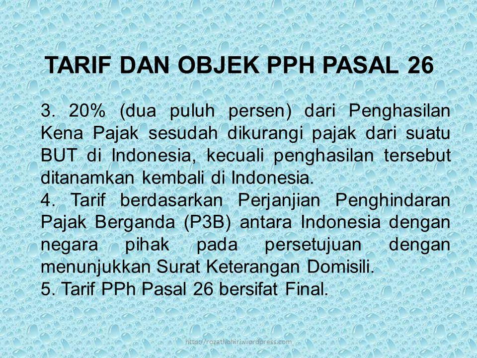 TARIF DAN OBJEK PPH PASAL 26 3.