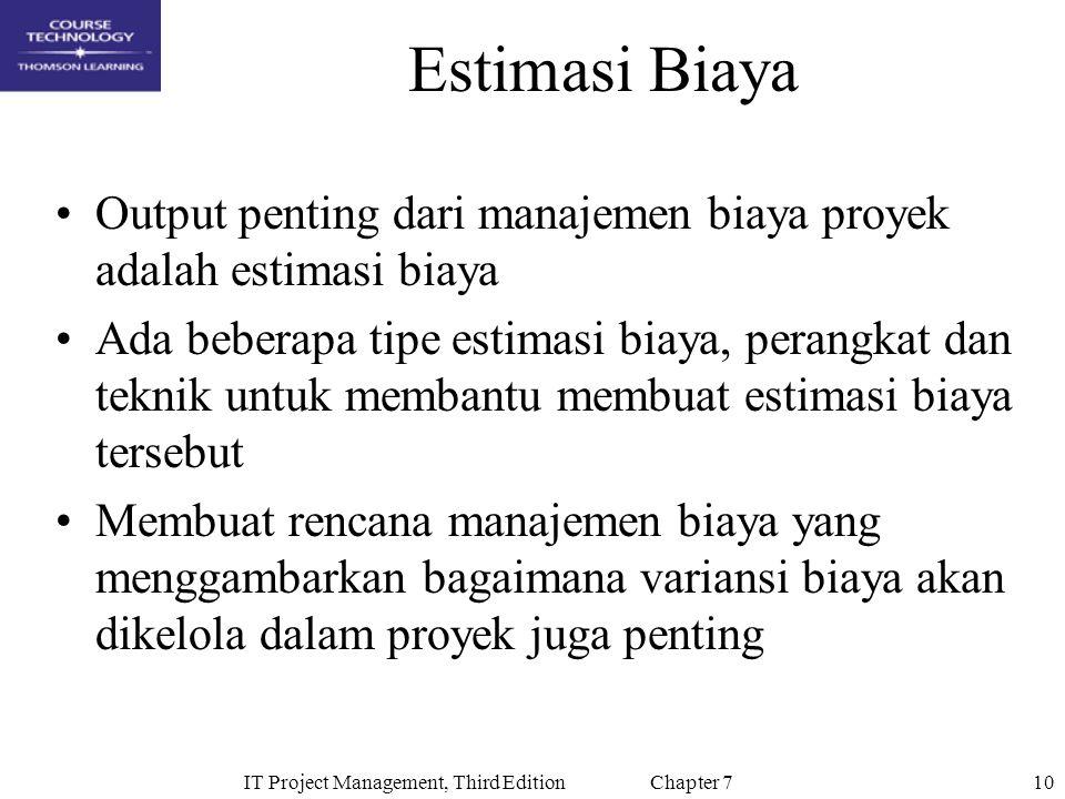 10IT Project Management, Third Edition Chapter 7 Estimasi Biaya Output penting dari manajemen biaya proyek adalah estimasi biaya Ada beberapa tipe est