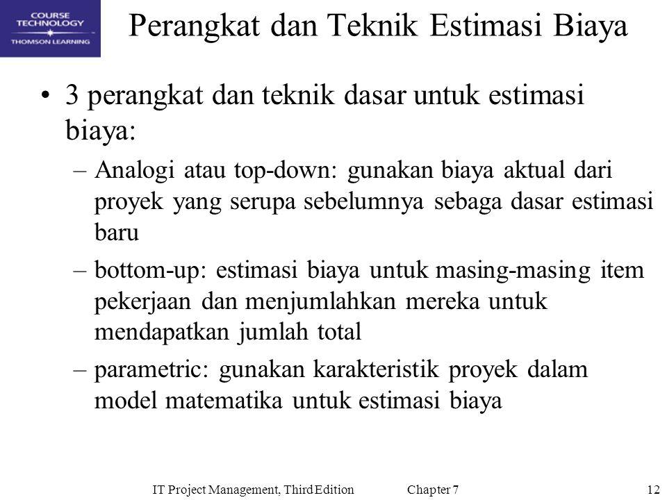 12IT Project Management, Third Edition Chapter 7 Perangkat dan Teknik Estimasi Biaya 3 perangkat dan teknik dasar untuk estimasi biaya: –Analogi atau