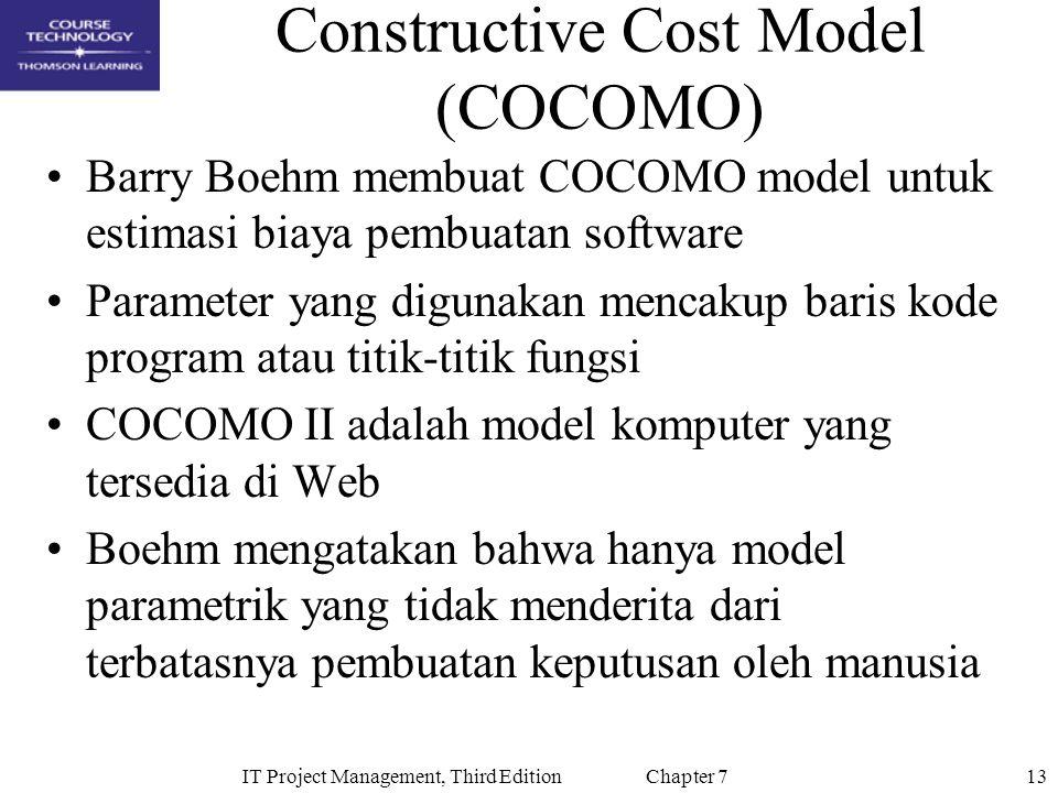 13IT Project Management, Third Edition Chapter 7 Constructive Cost Model (COCOMO) Barry Boehm membuat COCOMO model untuk estimasi biaya pembuatan soft