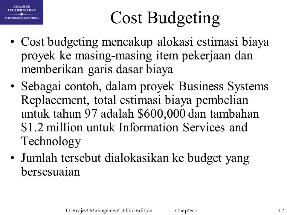 17IT Project Management, Third Edition Chapter 7 Cost Budgeting Cost budgeting mencakup alokasi estimasi biaya proyek ke masing-masing item pekerjaan
