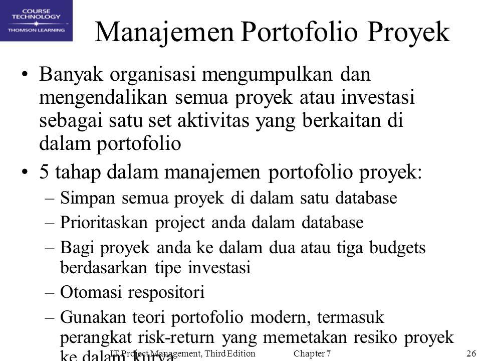 26IT Project Management, Third Edition Chapter 7 Manajemen Portofolio Proyek Banyak organisasi mengumpulkan dan mengendalikan semua proyek atau invest
