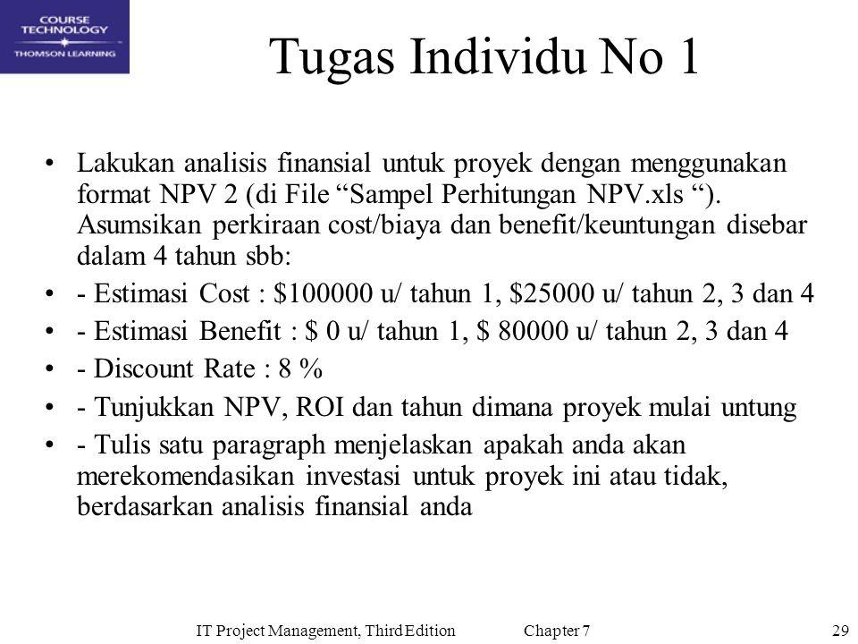 29IT Project Management, Third Edition Chapter 7 Tugas Individu No 1 Lakukan analisis finansial untuk proyek dengan menggunakan format NPV 2 (di File