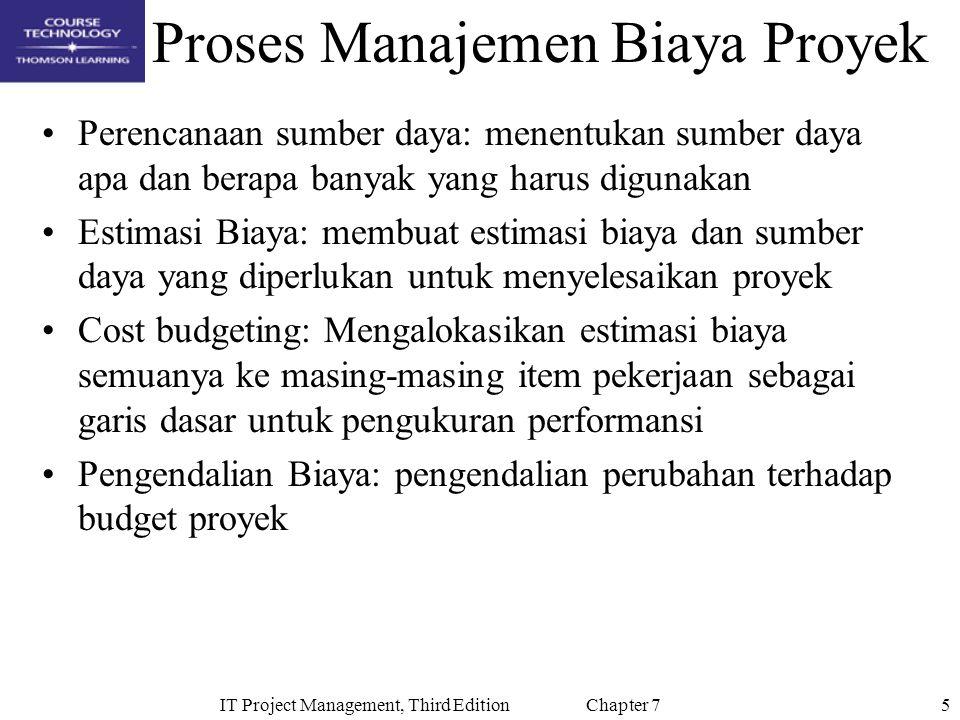 5IT Project Management, Third Edition Chapter 7 Proses Manajemen Biaya Proyek Perencanaan sumber daya: menentukan sumber daya apa dan berapa banyak ya