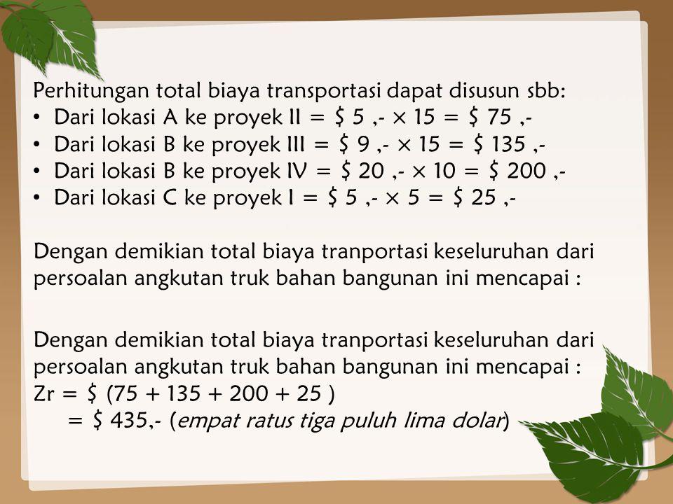 Dengan demikian total biaya tranportasi keseluruhan dari persoalan angkutan truk bahan bangunan ini mencapai : Zr = $ (75 + 135 + 200 + 25 ) = $ 435,-