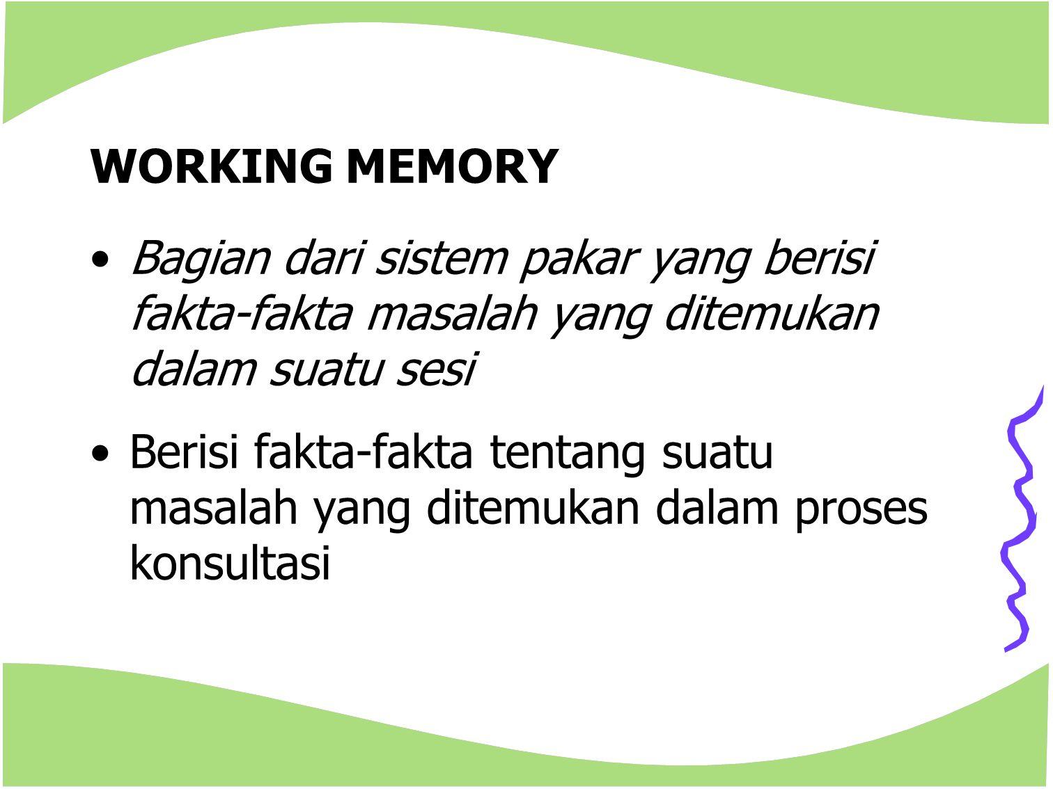 WORKING MEMORY Bagian dari sistem pakar yang berisi fakta-fakta masalah yang ditemukan dalam suatu sesi Berisi fakta-fakta tentang suatu masalah yang