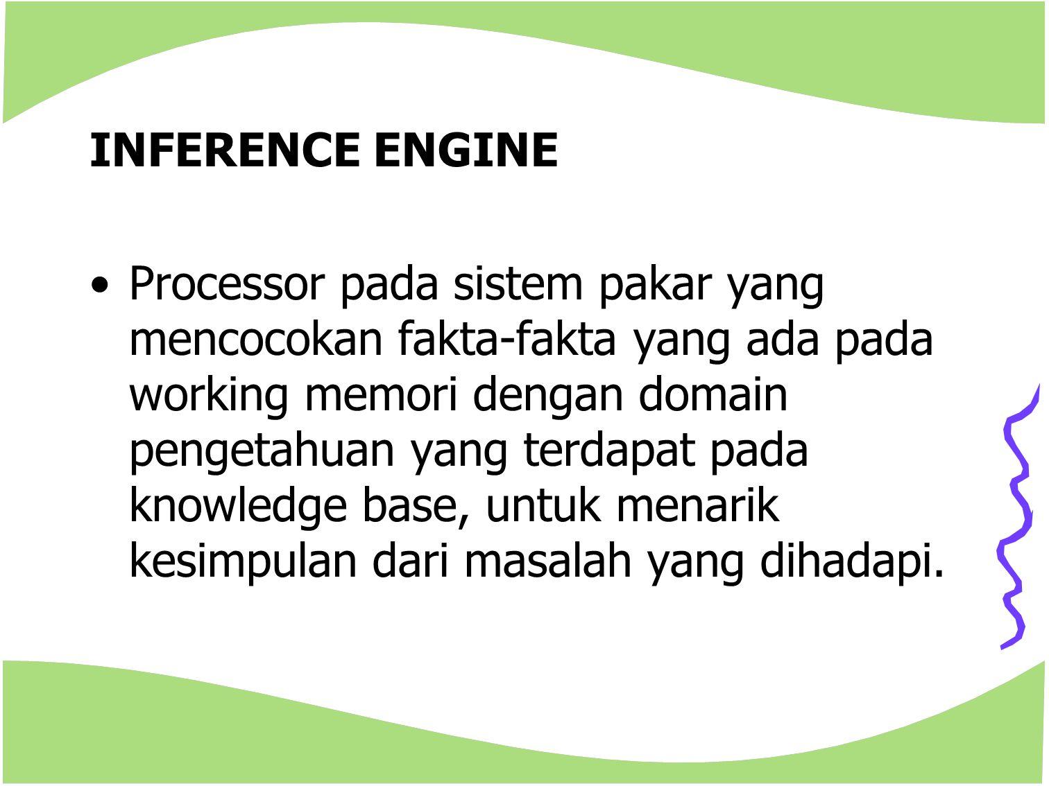 INFERENCE ENGINE Processor pada sistem pakar yang mencocokan fakta-fakta yang ada pada working memori dengan domain pengetahuan yang terdapat pada kno