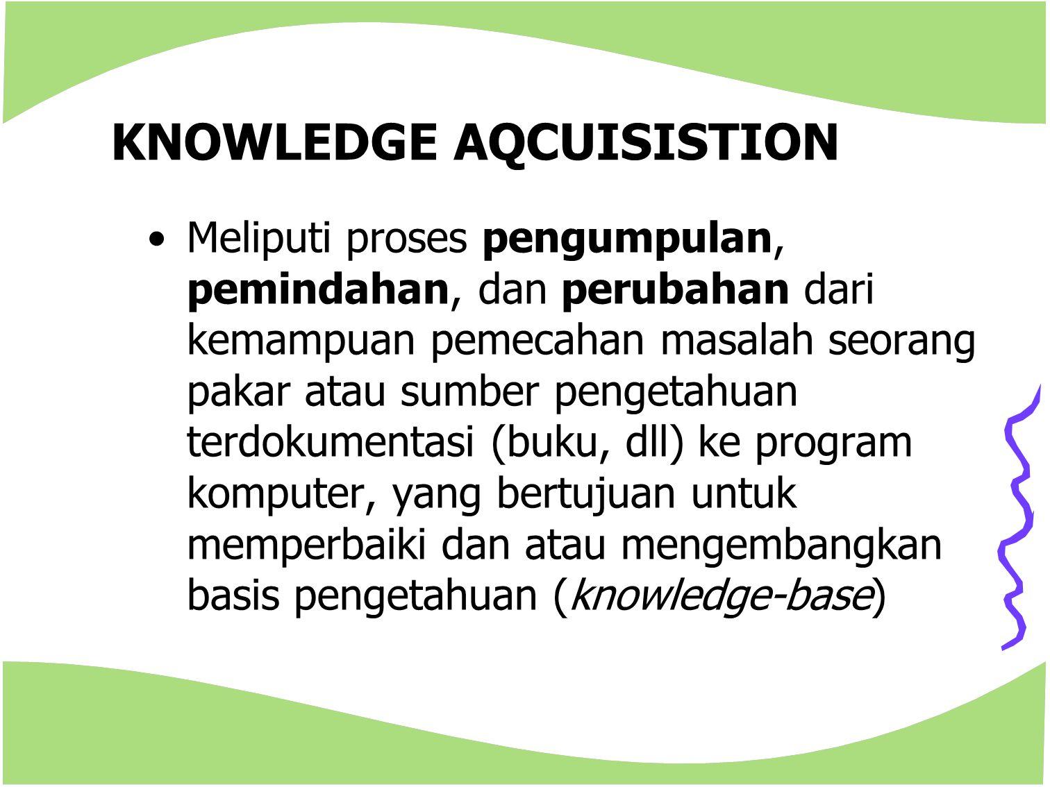 KNOWLEDGE AQCUISISTION Meliputi proses pengumpulan, pemindahan, dan perubahan dari kemampuan pemecahan masalah seorang pakar atau sumber pengetahuan t