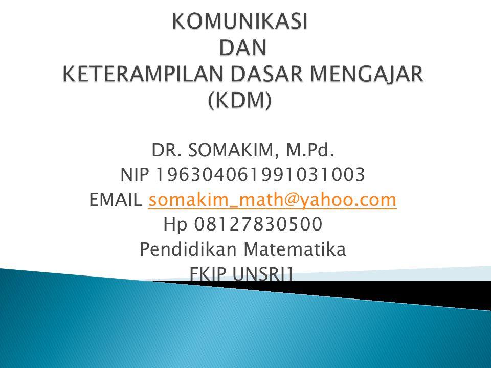 DR. SOMAKIM, M.Pd. NIP 196304061991031003 EMAIL somakim_math@yahoo.comsomakim_math@yahoo.com Hp 08127830500 Pendidikan Matematika FKIP UNSRI1