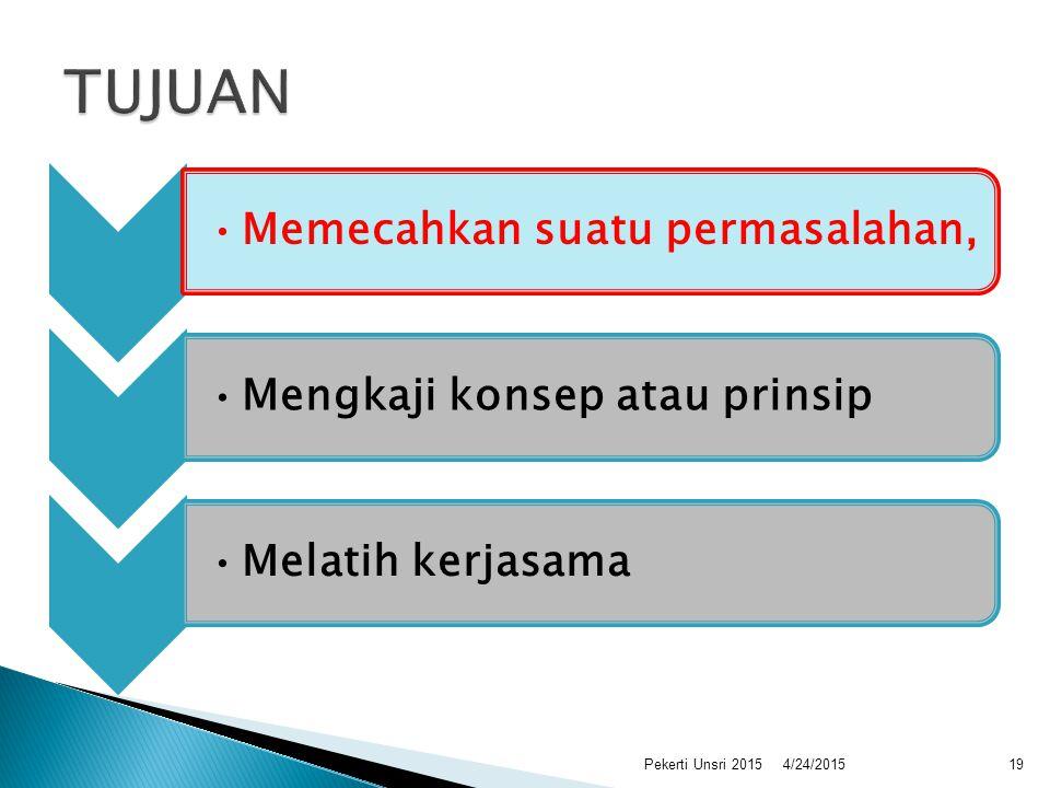 Memecahkan suatu permasalahan,Mengkaji konsep atau prinsipMelatih kerjasama 4/24/201519Pekerti Unsri 2015