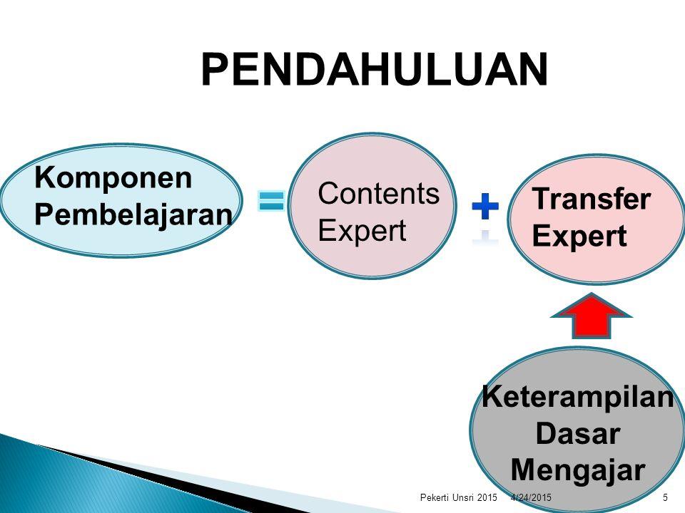 Komponen Pembelajaran Contents Expert Transfer Expert Keterampilan Dasar Mengajar PENDAHULUAN 4/24/20155Pekerti Unsri 2015