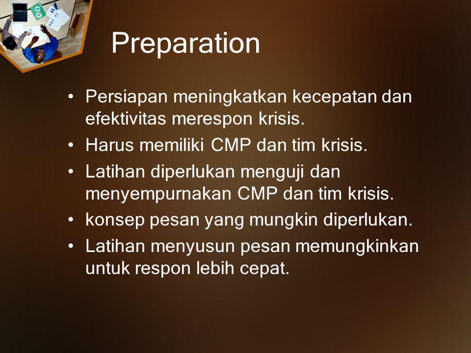Preparation Persiapan meningkatkan kecepatan dan efektivitas merespon krisis.