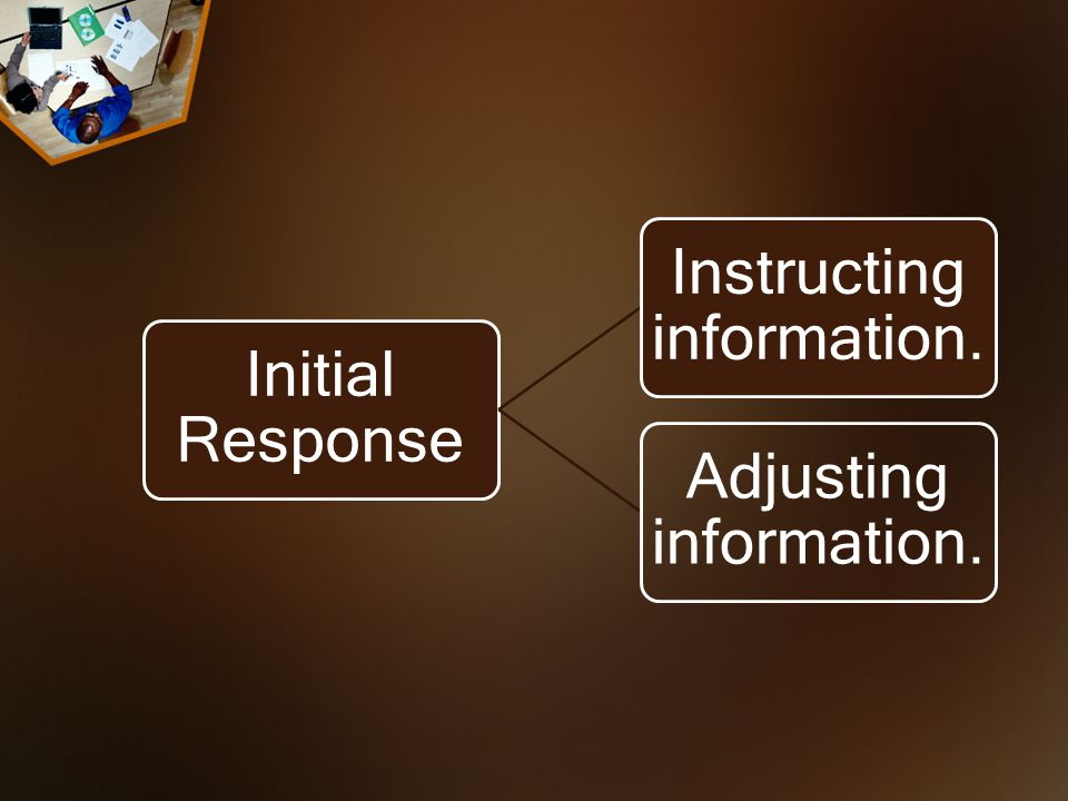 Initial Response Instructing information. Adjusting information.