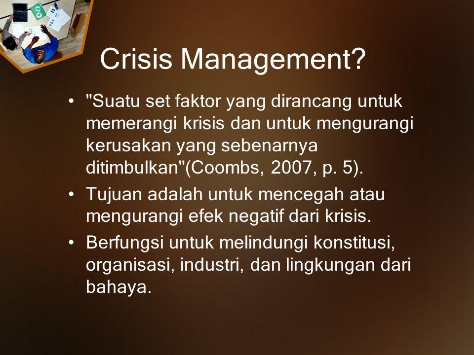 The Crisis Management Process pre- crisis crisis event post- crisis