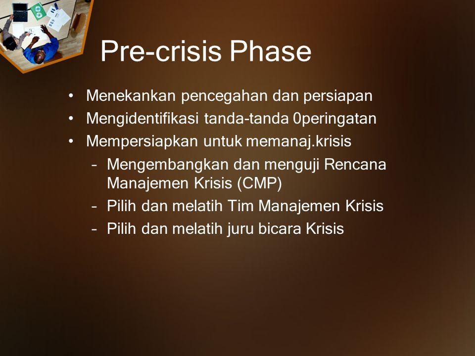 Pre-crisis Phase Menekankan pencegahan dan persiapan Mengidentifikasi tanda-tanda 0peringatan Mempersiapkan untuk memanaj.krisis –Mengembangkan dan menguji Rencana Manajemen Krisis (CMP) –Pilih dan melatih Tim Manajemen Krisis –Pilih dan melatih juru bicara Krisis